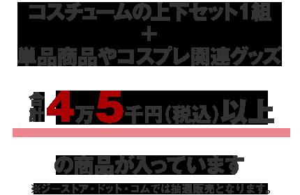 コスチュームの上下セット1組+単品商品やコスプレ関連グッズ合計4万5千円(税込)以上の商品が入っています。※ジーストア・ドット・コムでは抽選販売となります。